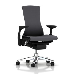 Fauteuil Embody Herman Miller Alu Poli / Graphite /Tissu Rhythm Charcoal