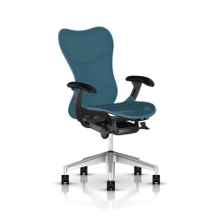 Fauteuil Mirra 2 Herman Miller H-Alloy Graphite / Butterfly Dark Turquoise