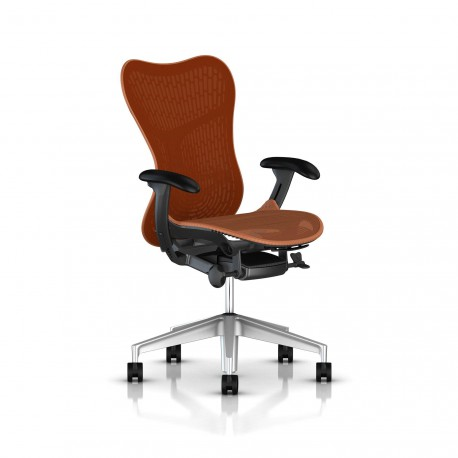 Fauteuil Mirra 2 Herman Miller H-Alloy Graphite / Butterfly Urban Orange