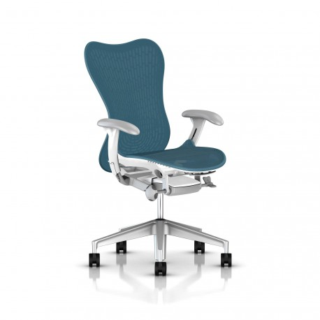 Fauteuil Mirra 2 Herman Miller H-Alloy Studio White / Butterfly Dark Turquoise
