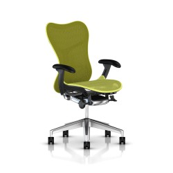 Fauteuil Mirra 2 Herman Miller Alu Semi Poli Graphite / Butterfly Lime Green