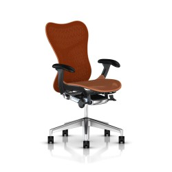 Fauteuil Mirra 2 Herman Miller Alu Semi Poli Graphite / Butterfly Urban Orange