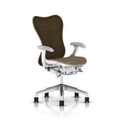 Fauteuil Mirra 2 Herman Miller Alu Semi Poli - White / Butterfly Cappuccino