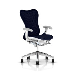 Fauteuil Mirra 2 Herman Miller Alu Semi Poli - White / Butterfly Twilight