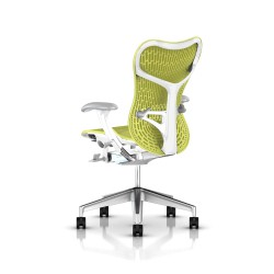 Fauteuil Mirra 2 Herman Miller Alu Semi Poli - White / Butterfly Lime Green
