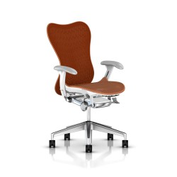 Fauteuil Mirra 2 Herman Miller Alu Semi Poli - White / Butterfly Urban Orange