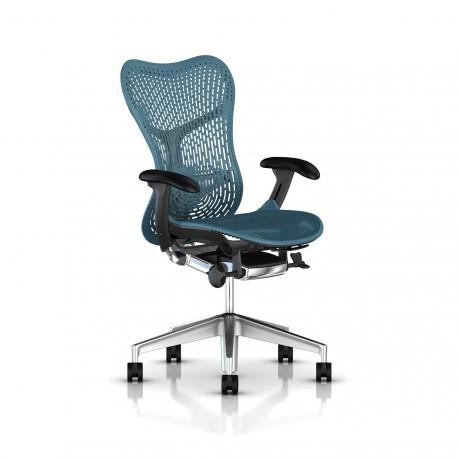Fauteuil Mirra 2 Herman Miller Alu Semi Poli Graphite / Triflex Dark Turquoise