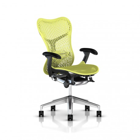 Fauteuil Mirra 2 Herman Miller Alu Semi Poli Graphite / Triflex Lime Green