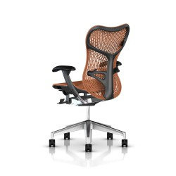 Fauteuil Mirra 2 Herman Miller Alu Semi Poli Graphite / Triflex Urban Orange