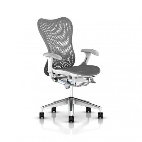 Fauteuil Mirra 2 Herman Miller Alu Semi Poli - White / Triflex Slate Grey