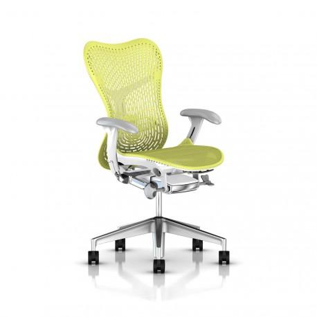 Fauteuil Mirra 2 Herman Miller Alu Semi Poli - White / Triflex Lime Green