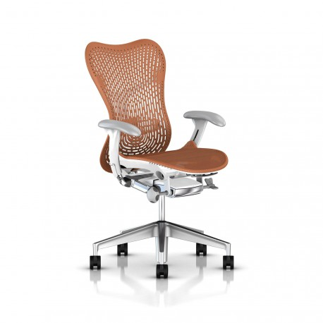 Fauteuil Mirra 2 Herman Miller Alu Semi Poli - White / Triflex Urban Orange