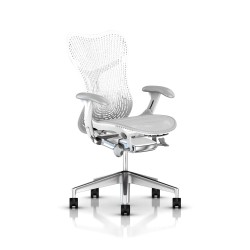 Fauteuil Mirra 2 Herman Miller Alu Semi Poli - White / Triflex Studio White