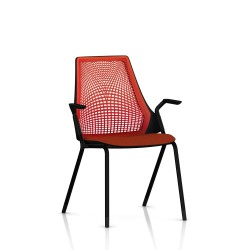 Sayl Side Chair Herman Miller Noir / 4 Pieds - Patins  / Dossier Suspension Red / Assise Tissu Panama