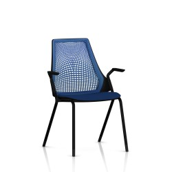 Sayl Side Chair Herman Miller Noir / 4 Pieds - Patins  / Dossier Suspension Berry Blue / Assise Tissu Scuba