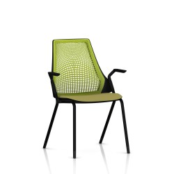 Sayl Side Chair Herman Miller Noir / 4 Pieds - Patins / Dossier Suspension Green Apple / Assise Tissu Appledore