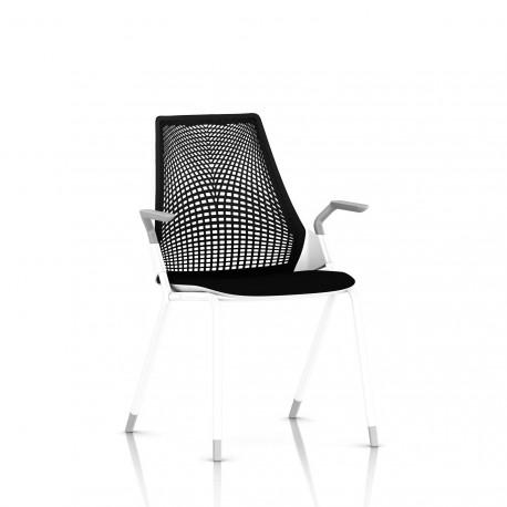 Sayl Side Chair Herman Miller Studio White / 4 Pieds - Patins / Dossier Suspension Noir / Assise Tissu Havana