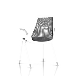 Sayl Side Chair Herman Miller Studio White / 4 Pieds - Patins / Dossier Suspension Slate Grey / Assise Tissu Krabi