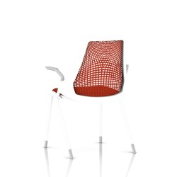 Sayl Side Chair Herman Miller Studio White / 4 Pieds - Patins / Dossier Suspension Red / Assise Tissu Panama