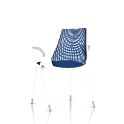 Sayl Side Chair Herman Miller Studio White / 4 Pieds - Patins / Dossier Suspension Berry Blue / Assise Tissu Scuba