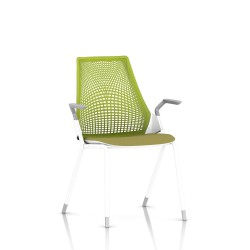 Sayl Side Chair Herman Miller Studio White / 4 Pieds - Patins / Dossier Suspension Green Apple / Assise Tissu Appledore