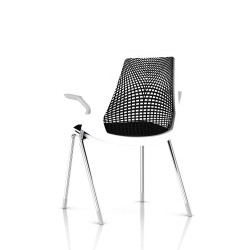 Sayl Side Chair Herman Miller Chrome / 4 Pieds - Patins / Dossier Suspension Noir / Assise Tissu Havana
