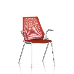 Sayl Side Chair Herman Miller Chrome / 4 Pieds - Patins / Dossier Suspension Red / Assise Tissu Panama
