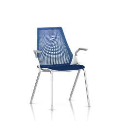 Sayl Side Chair Herman Miller Chrome / 4 Pieds - Patins / Dossier Suspension Berry Blue / Assise Tissu Scuba