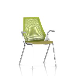 Sayl Side Chair Herman Miller Chrome / 4 Pieds - Patins  / Dossier Suspension Green Apple / Assise Tissu Appledore