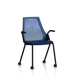 Sayl Side Chair Herman Miller Noir / 4 Pieds - Roulettes / Dossier Suspension Berry Blue / Assise Tissu Scuba