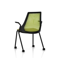 Sayl Side Chair Herman Miller Noir / 4 Pieds - Roulettes / Dossier Suspension Green Apple / Assise Tissu Appledore