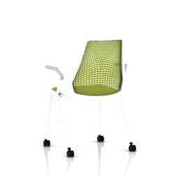 Sayl Side Chair Herman Miller Studio White / 4 Pieds - Roulettes / Dossier Suspension Green Apple / Assise Tissu Appledore
