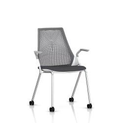 Sayl Side Chair Herman Miller Chrome / 4 Pieds - Roulettes  / Dossier Suspension Slate Grey / Assise Tissu Krabi