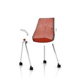 Sayl Side Chair Herman Miller Chrome / 4 Pieds - Roulettes / Dossier Suspension Red / Assise Tissu Panama
