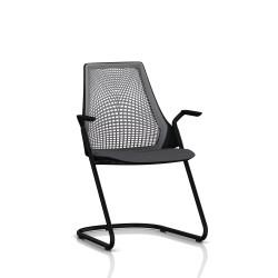 Sayl Side Chair Herman Miller Noir / Dossier Suspension Slate Grey / Assise Tissu Krabi