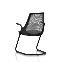 Sayl Side Chair Herman Miller Noir / Dossier Suspension Slate Grey / Assise Tissu Krabi