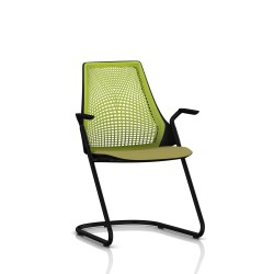 Sayl Side Chair Herman Miller Noir / Dossier Suspension Green Apple / Assise Tissu Appledore