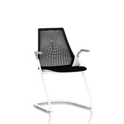 Sayl Side Chair Herman Miller Studio White / Dossier Suspension Noir / Assise Tissu Havana