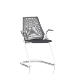 Sayl Side Chair Herman Miller Studio White / Dossier Suspension Slate Grey / Assise Tissu Krabi