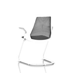 Sayl Side Chair Herman Miller Studio White / Dossier Suspension Slate Grey / Assise Tissu Krabi