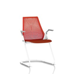 Sayl Side Chair Herman Miller Studio White / Dossier Suspension Red / Assise Tissu Panama
