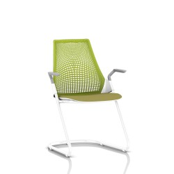 Sayl Side Chair Herman Miller Studio White / Dossier Suspension Green Apple / Assise Tissu Appledore