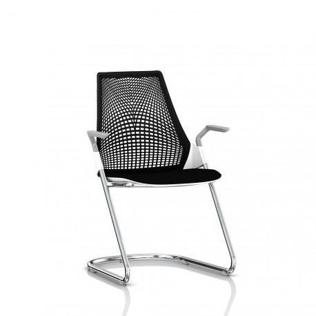 Sayl Side Chair Herman Miller Chrome / Dossier Suspension Noir / Assise Tissu Havana