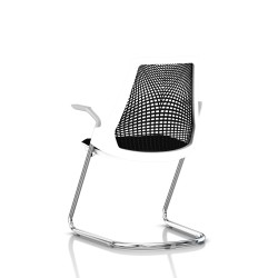 Sayl Side Chair Herman Miller Chrome / Dossier Suspension Noir / Assise Tissu Havana