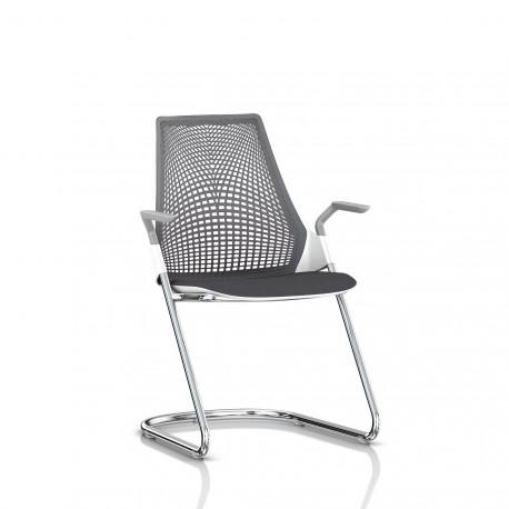 Sayl Side Chair Herman Miller Chrome / Dossier Suspension Slate Grey / Assise Tissu Krabi
