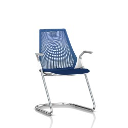 Sayl Side Chair Herman Miller Chrome / Dossier Suspension Berry Blue / Assise Tissu Scuba
