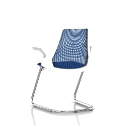 Sayl Side Chair Herman Miller Chrome / Dossier Suspension Berry Blue / Assise Tissu Scuba