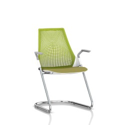 Sayl Side Chair Herman Miller Chrome / Dossier Suspension Green Apple / Assise Tissu Appledore