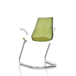 Sayl Side Chair Herman Miller Chrome / Dossier Suspension Green Apple / Assise Tissu Appledore