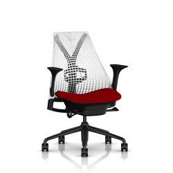 Fauteuil Sayl Herman Miller Noir / Dossier Suspension Studio White / Assise Panama